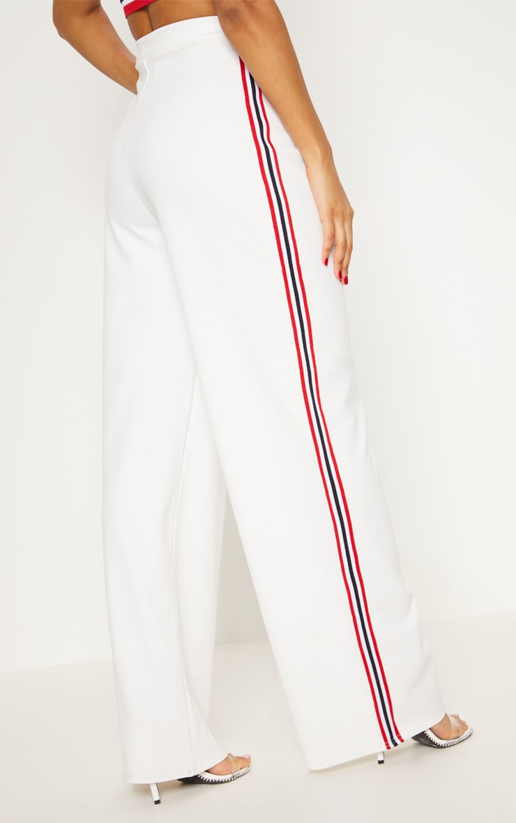White Tape Wide Leg Trouser  4