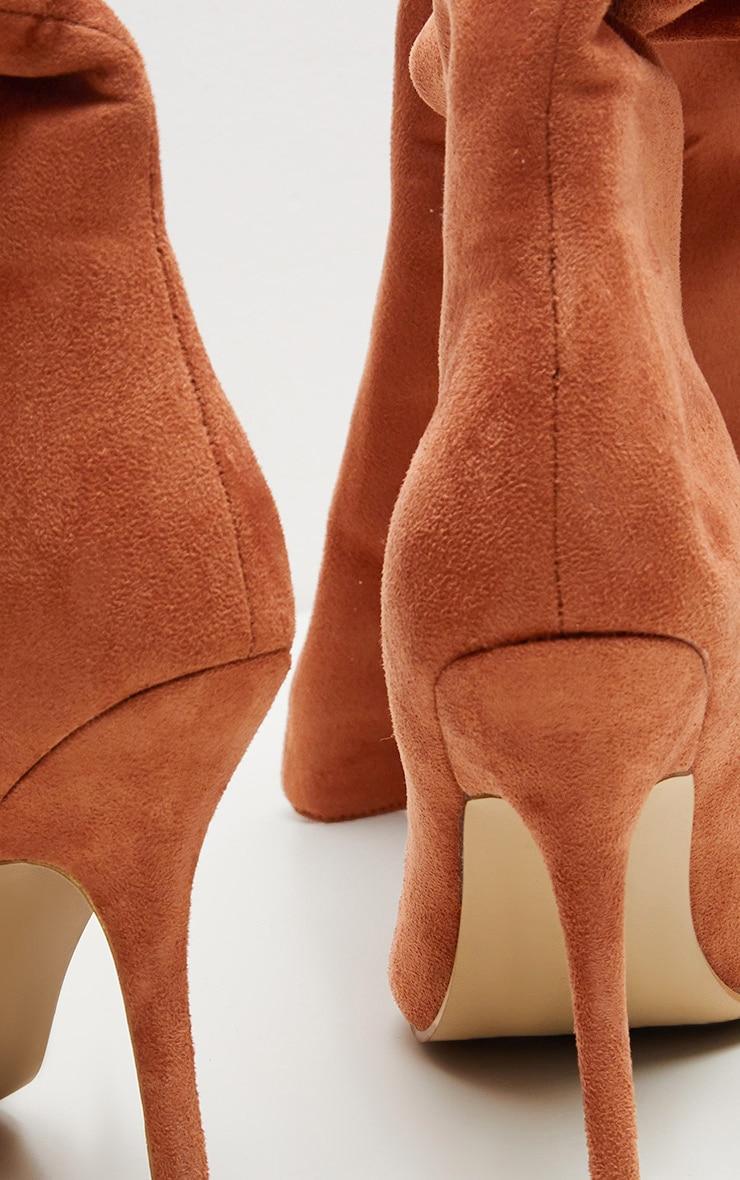 Rust Over The Knee Mid Heel Boot  4
