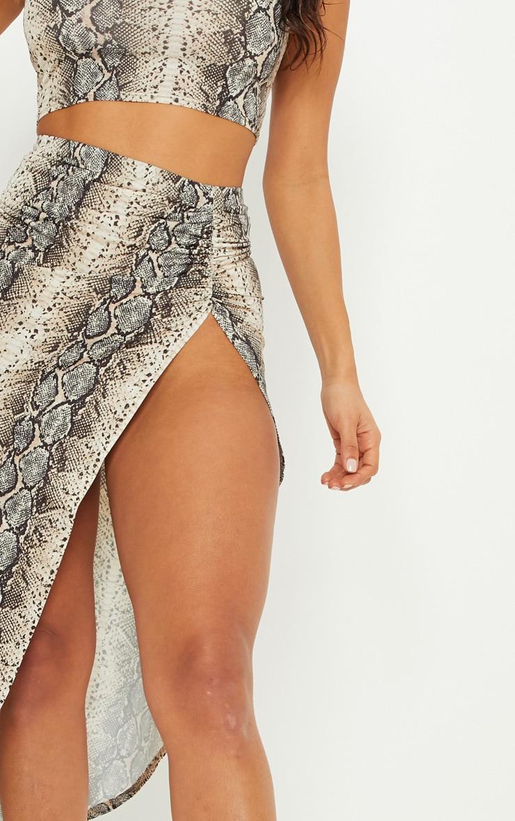 Stone Snake Print Ruched Side Split Maxi Skirt 6