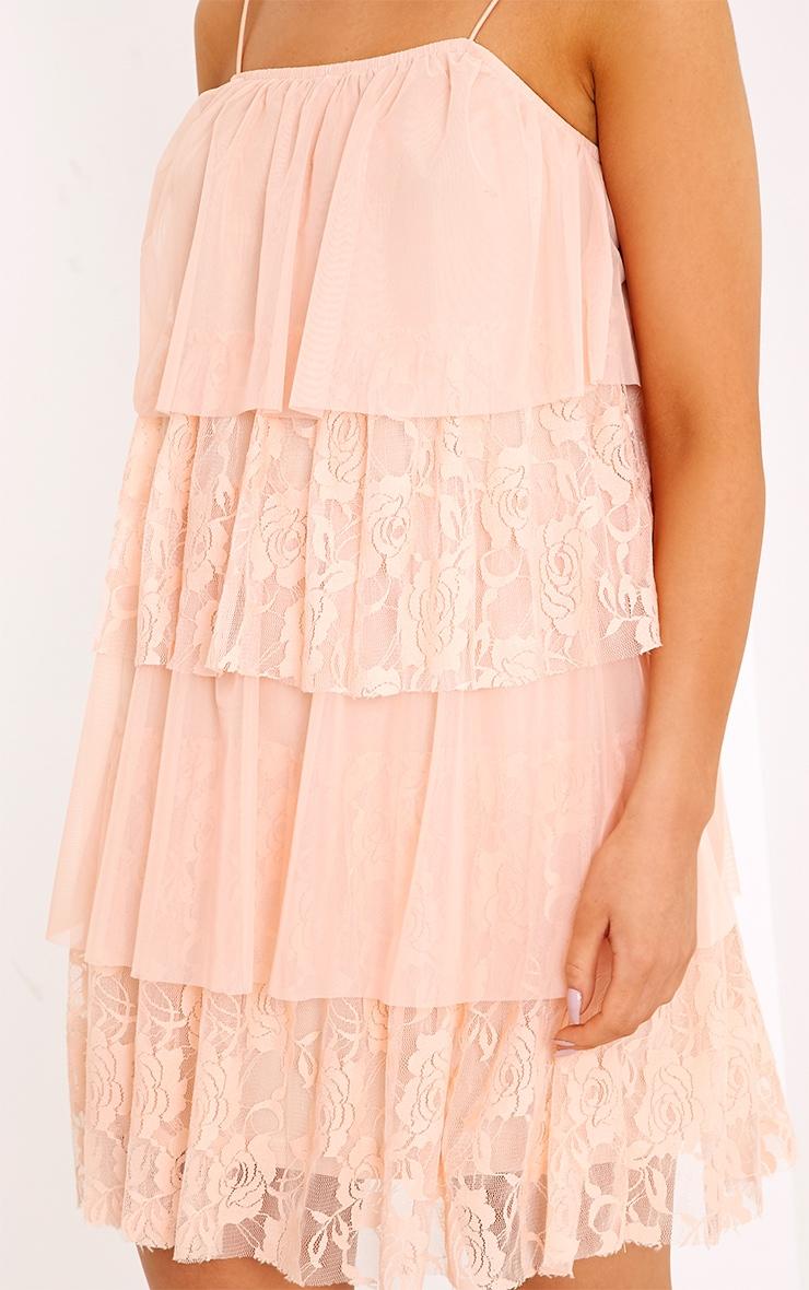 Sarsha Nude Chiffon Lace Frill Shift Dress  5