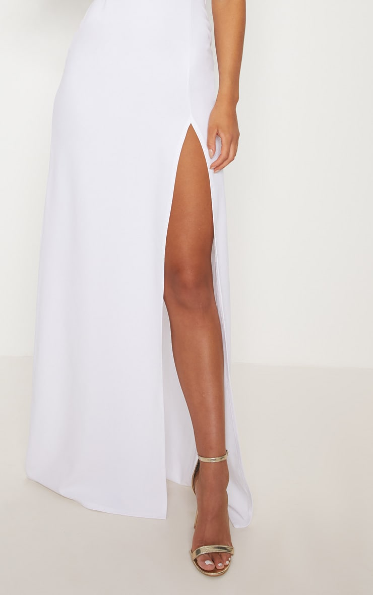 White Bardot V Bar Extreme Split Maxi Dress 5