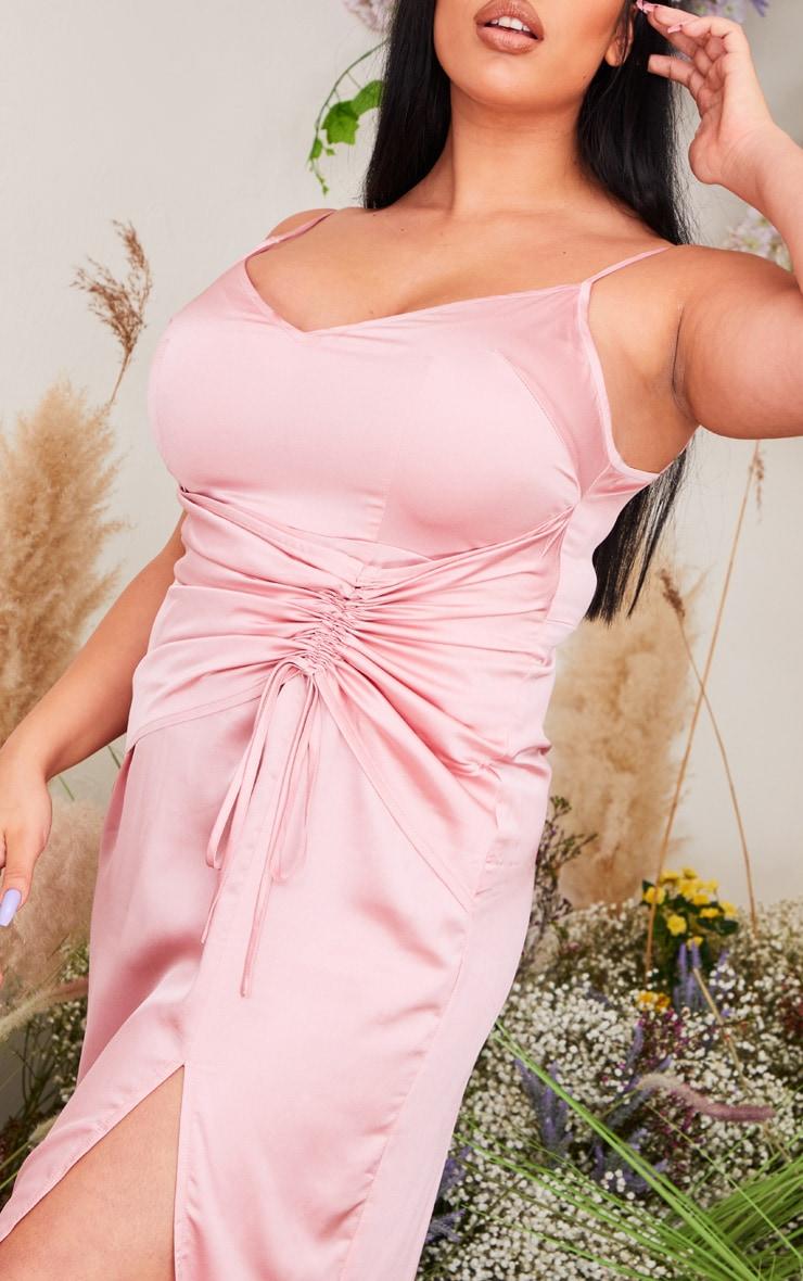 Plus Dusty Pink Satin Corset Waist Maxi Dress 4
