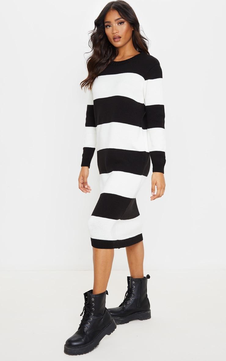Monochrome Soft Knit Stripe Midi Dress 1