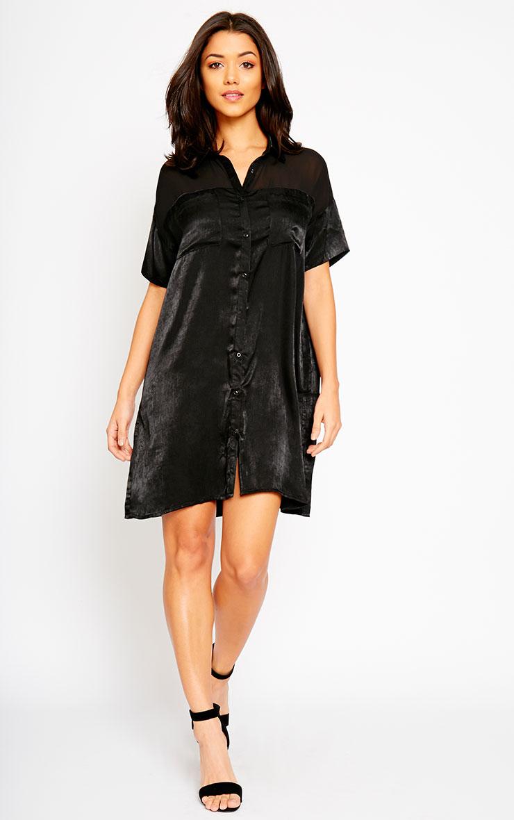 Dina Black Silky Panel Shirt Dress 6