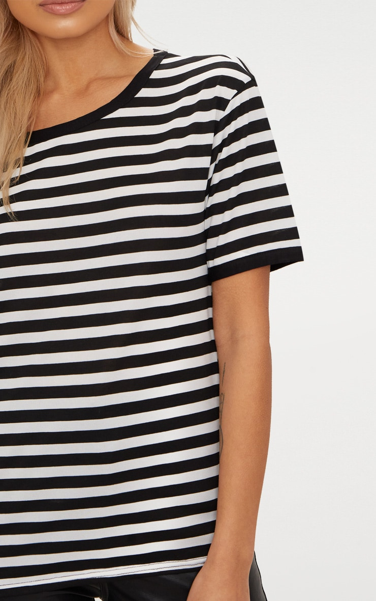Black Contrast Stripe Fitted T Shirt  5