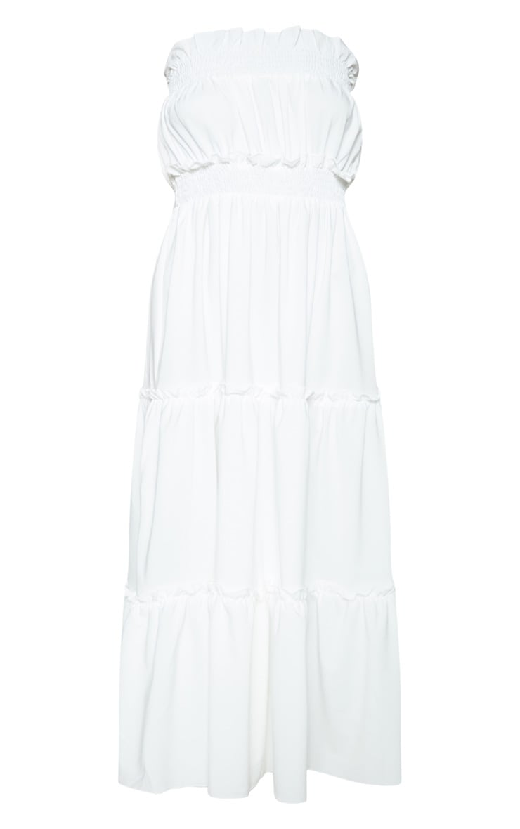 White Shirred Frill Tiered Bandeau Maxi Dress 3
