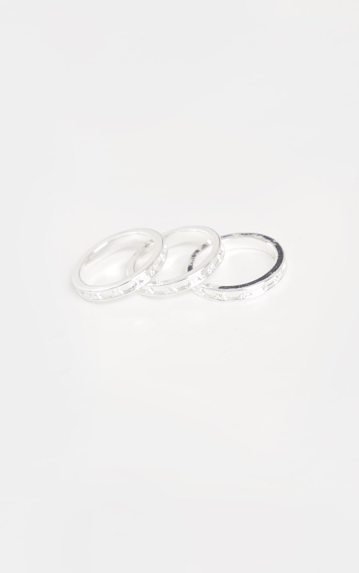 Silver Roman Numeral Skinny Ring 3 Pack 2