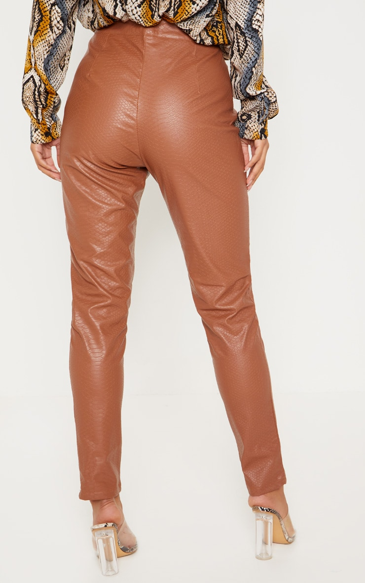 Tan Faux Leather Embossed Snakeskin Skinny Trouser 4