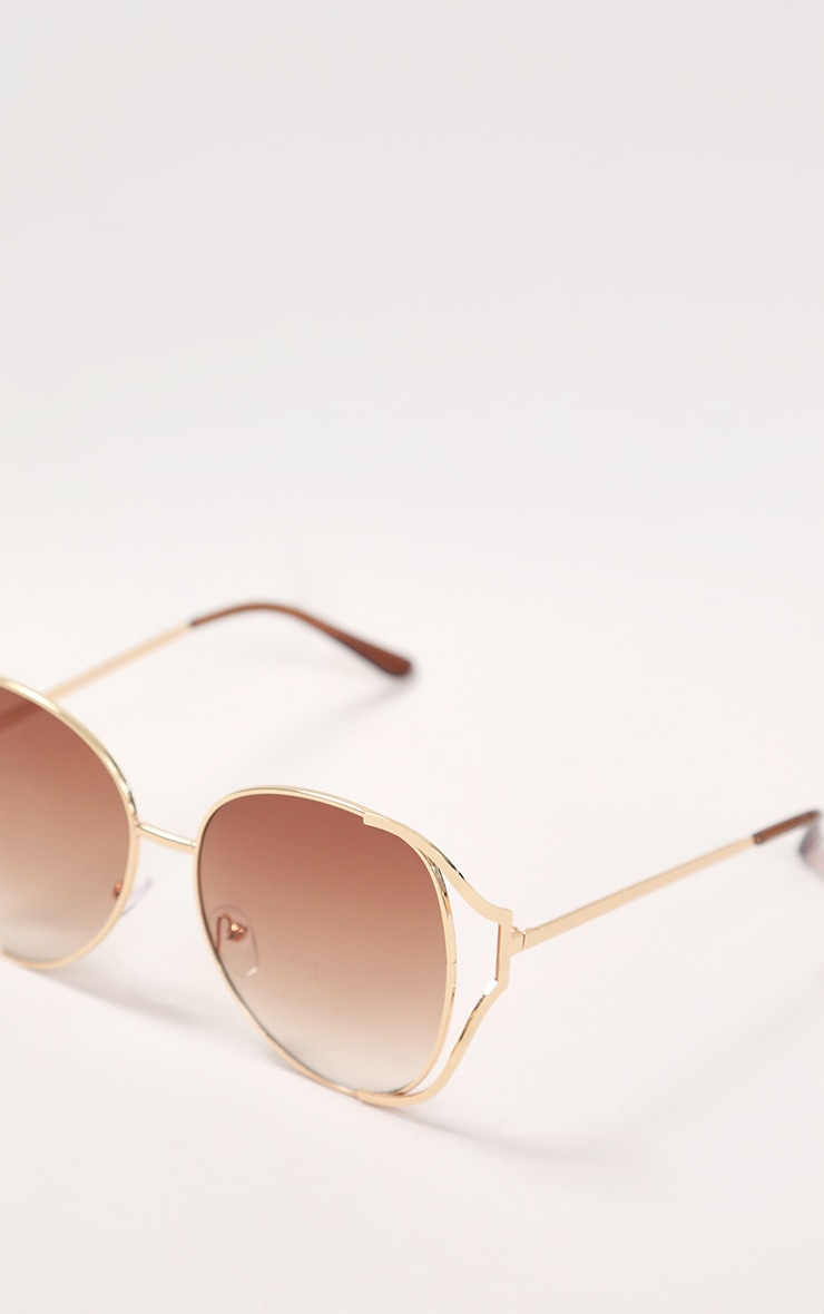Brown Faded Lens Gold Cut Out Frame Oversized Sunglasses 5