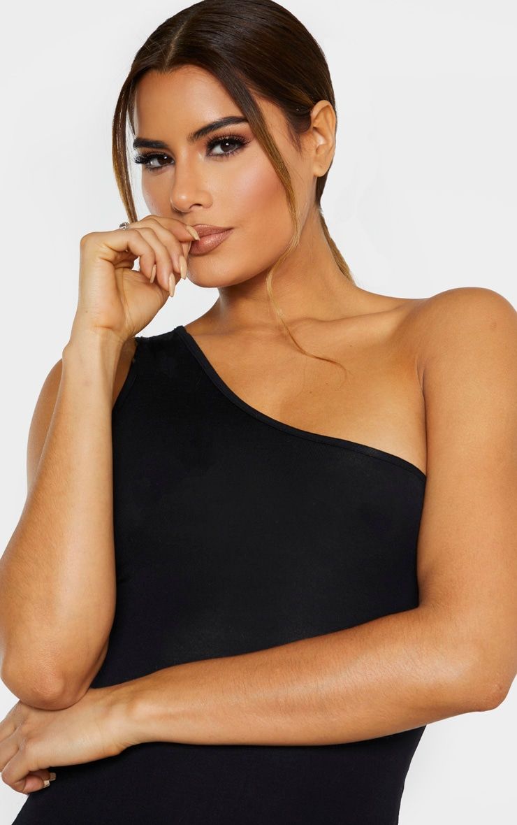 Tall Black One Shoulder Jersey Mini Dress 5