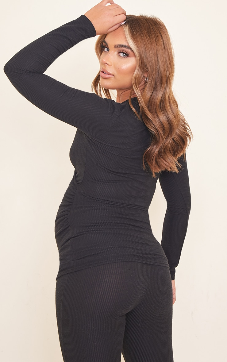 Maternity Black Brushed Rib Ruched Top 2