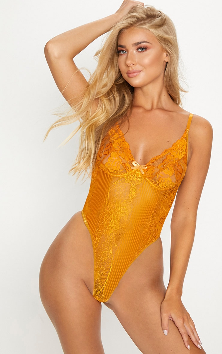 Mustard Lace Insert High Leg Cupped Body 1