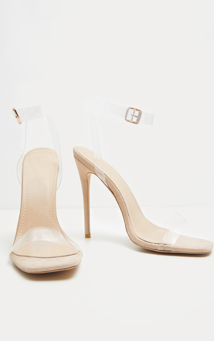 Nude Square Toe Clear Strappy Sandal 3