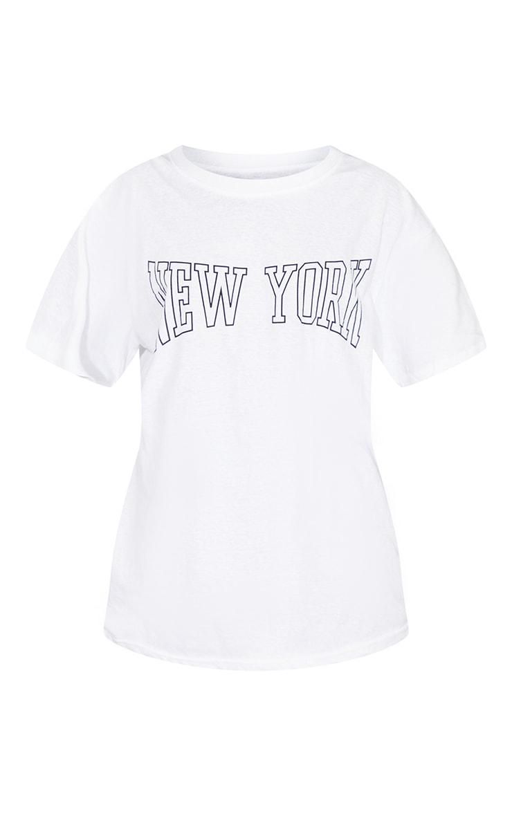 White New York Print T Shirt 5
