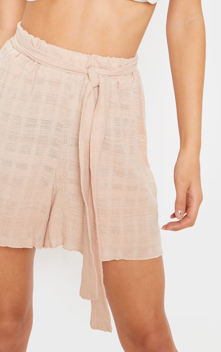 Stone Linen Feel Textured Tie Waist Short 6