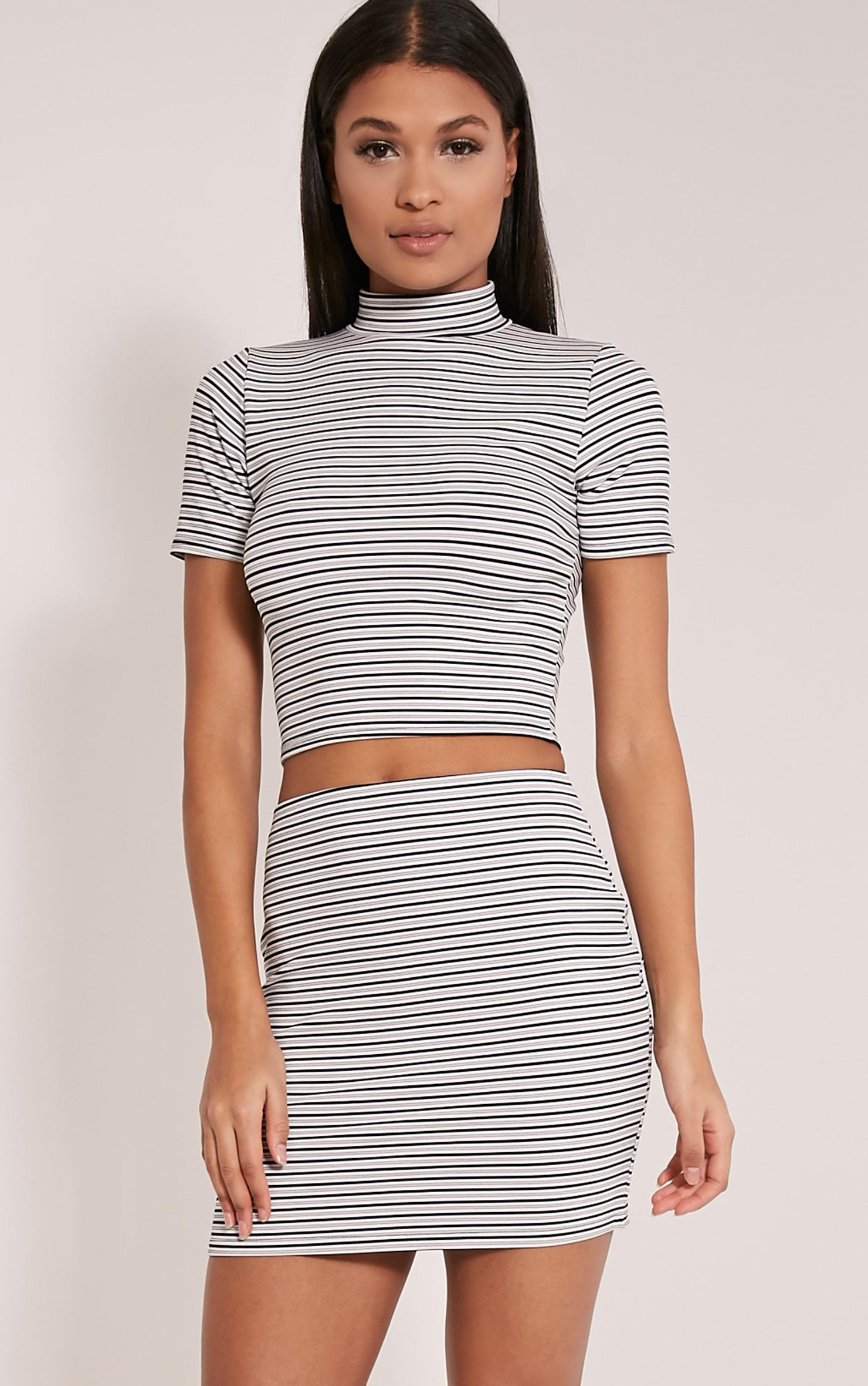 Leoni White Stripe Mini Skirt 6