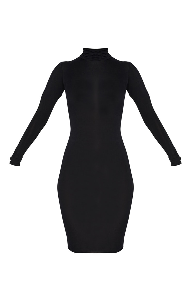 Basic Black Roll Neck Midi Dress 3