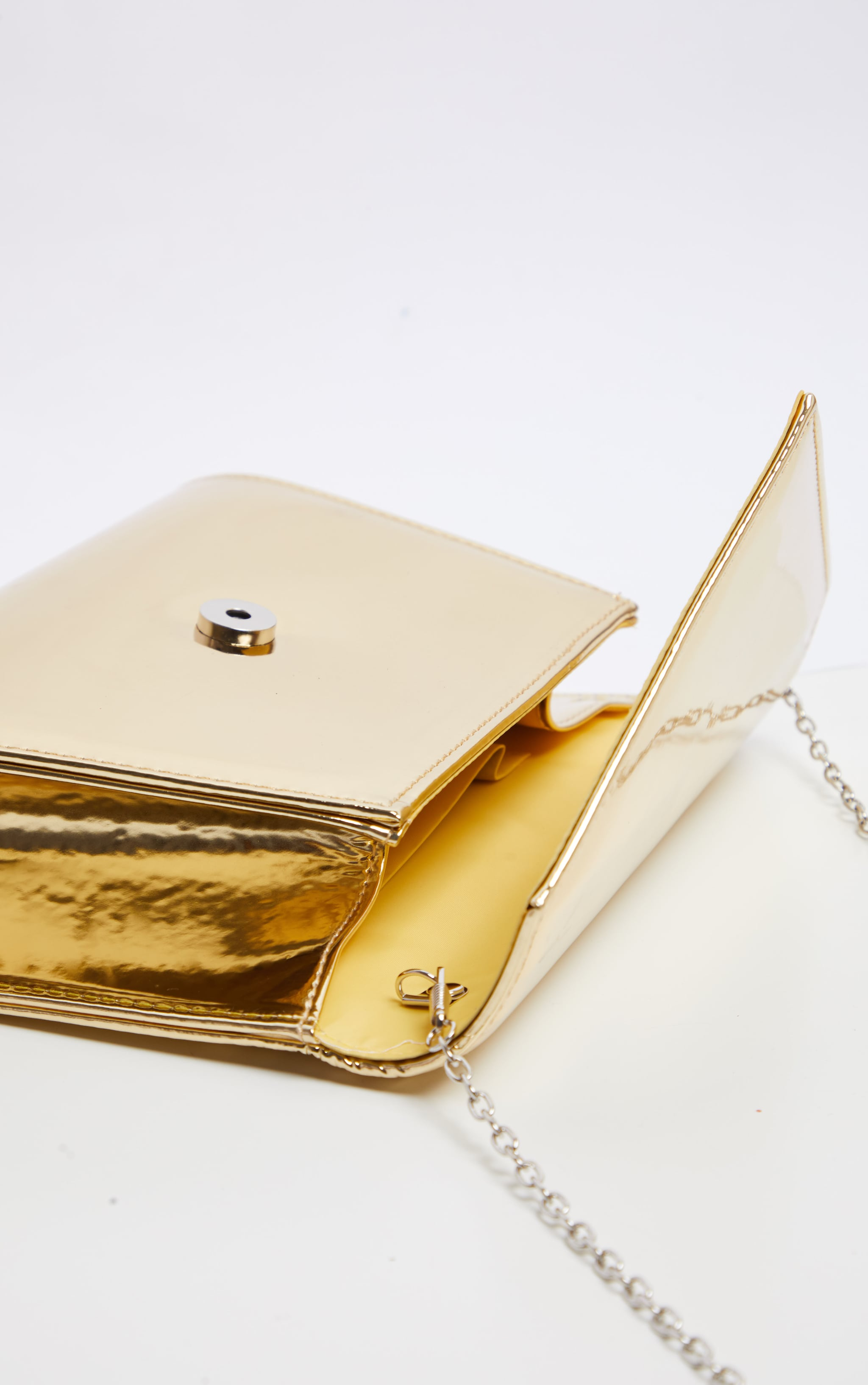 Gold Metallic Chain Cross Body Bag  5
