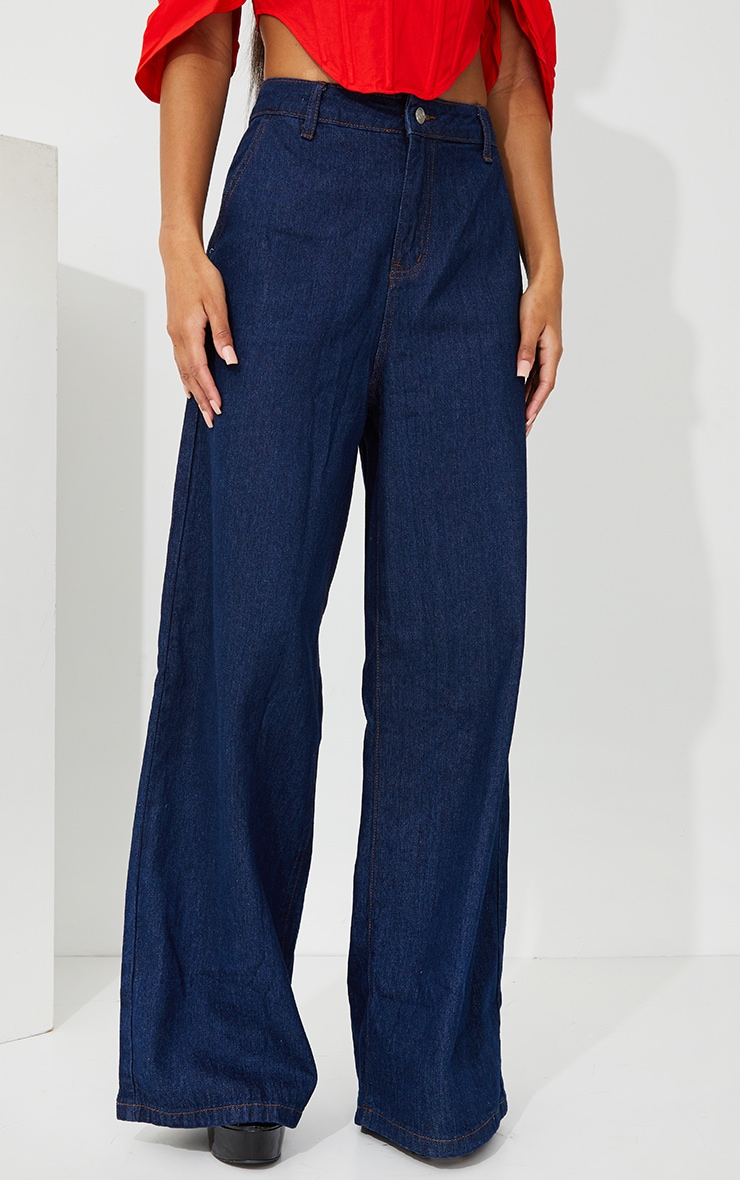 Indigo Wash Wide Leg Jeans 2