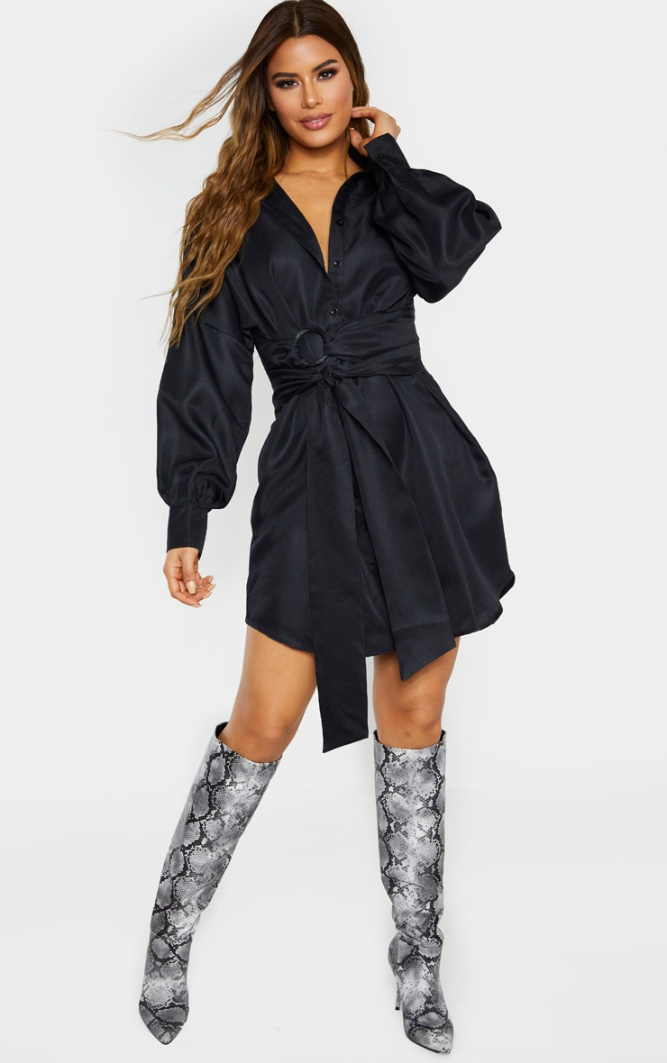 Tall Black Belted Tie Shirt Dress 4