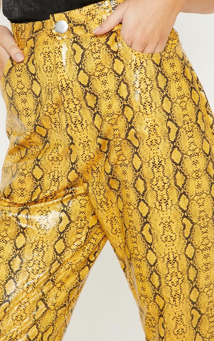 Mustard Faux Leather Snakeskin Straight Leg Pants 5
