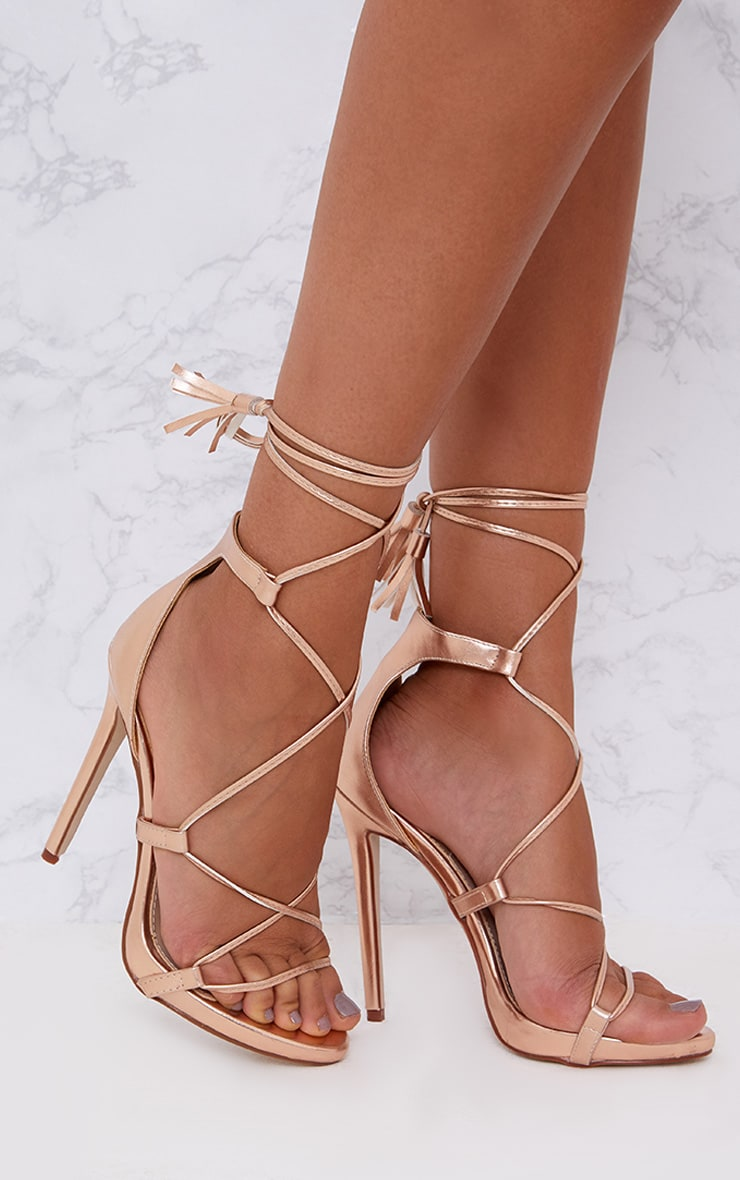 Rose Gold PU Tassel Lace Up Heels
