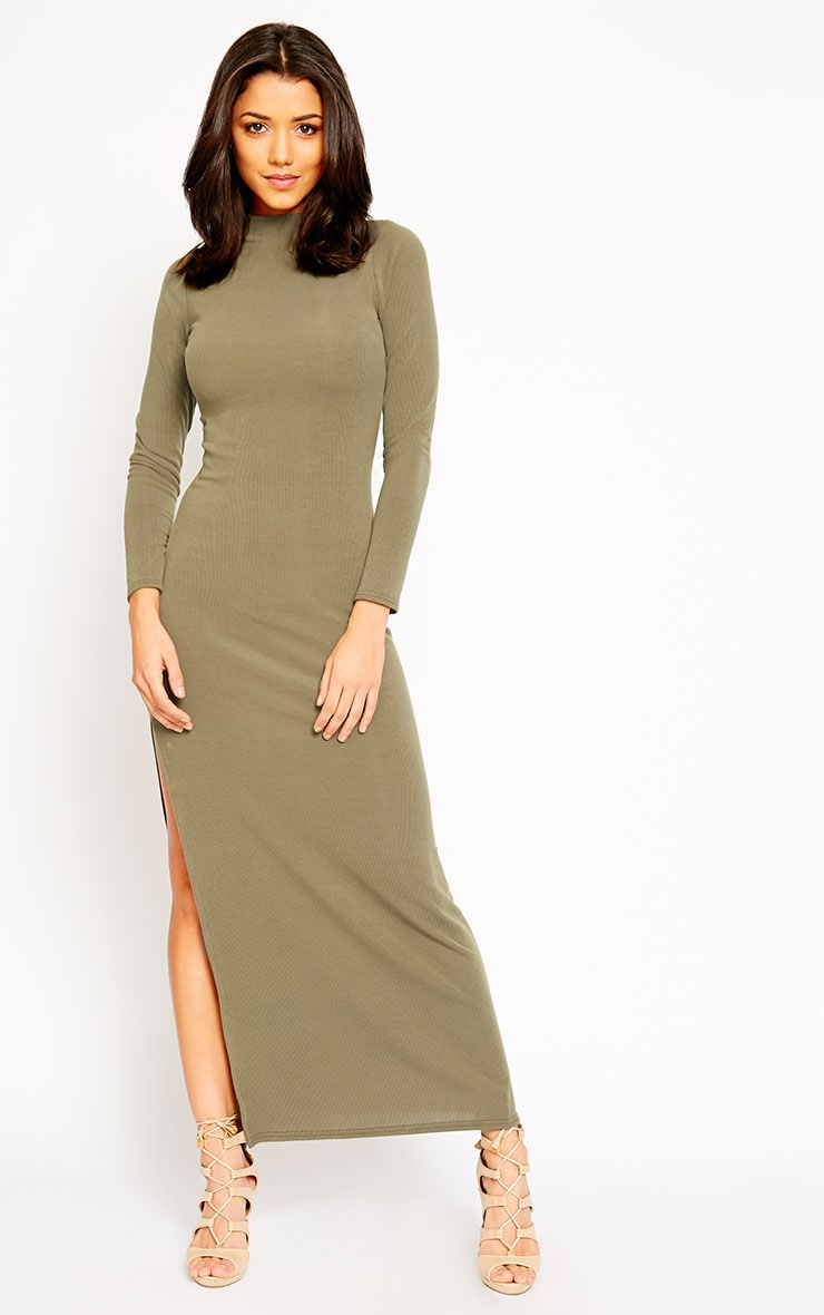 Basic Khaki Turtle Neck Maxi Dress 1