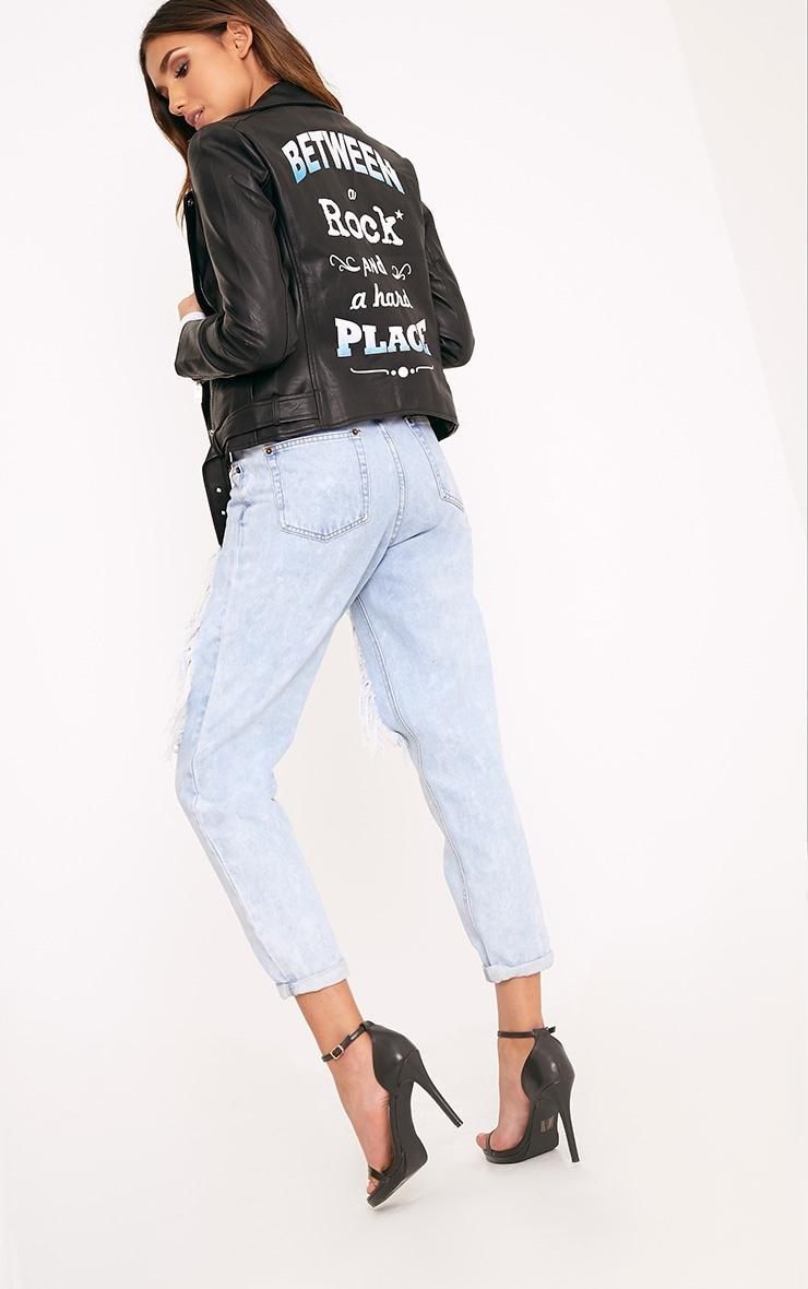 Tarynn Black Rock  Slogan PU Biker Jacket 3