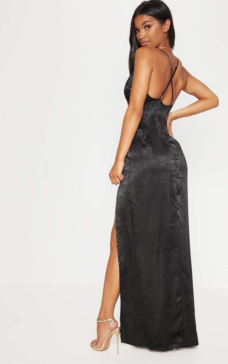 Black Satin Slip Maxi Dress 2