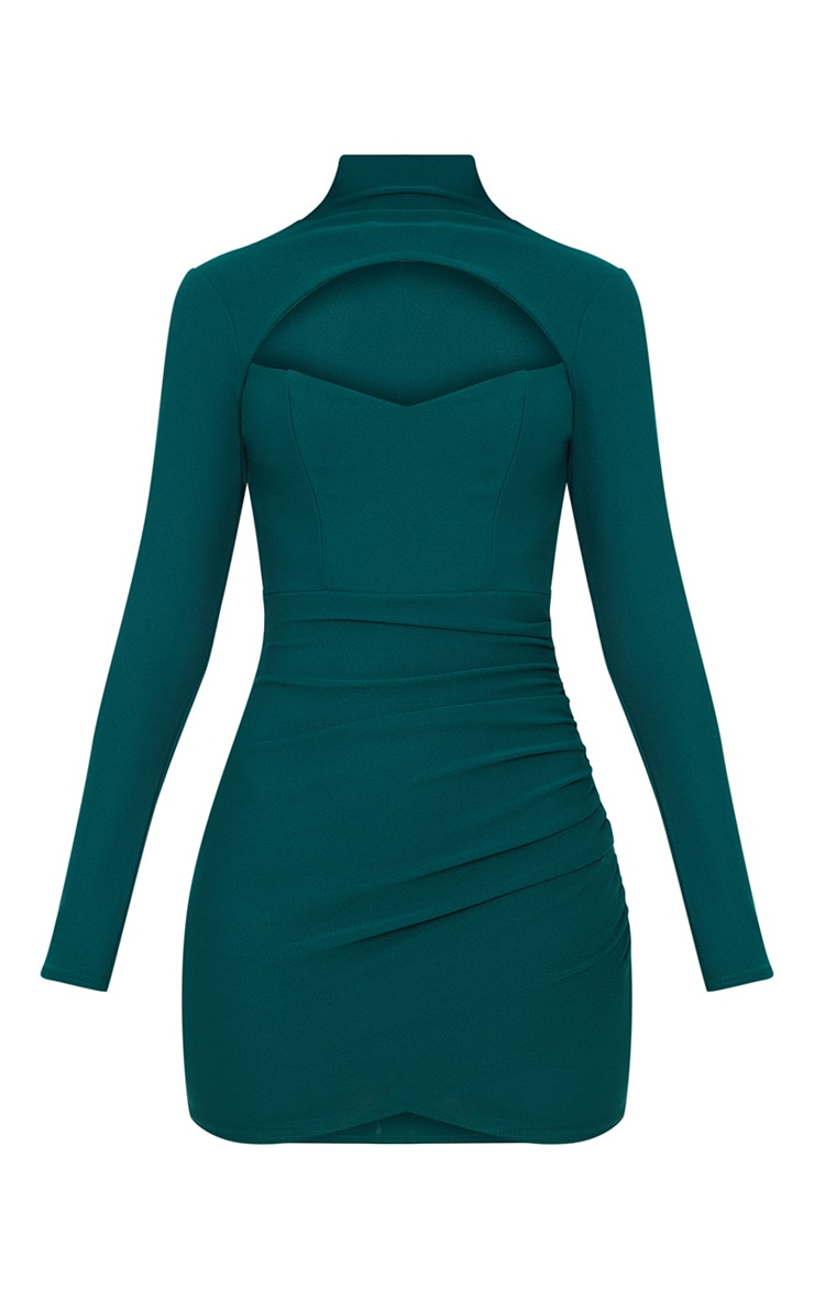 Emerald Green High Neck Cut Out Ruched Detail Bodycon  3