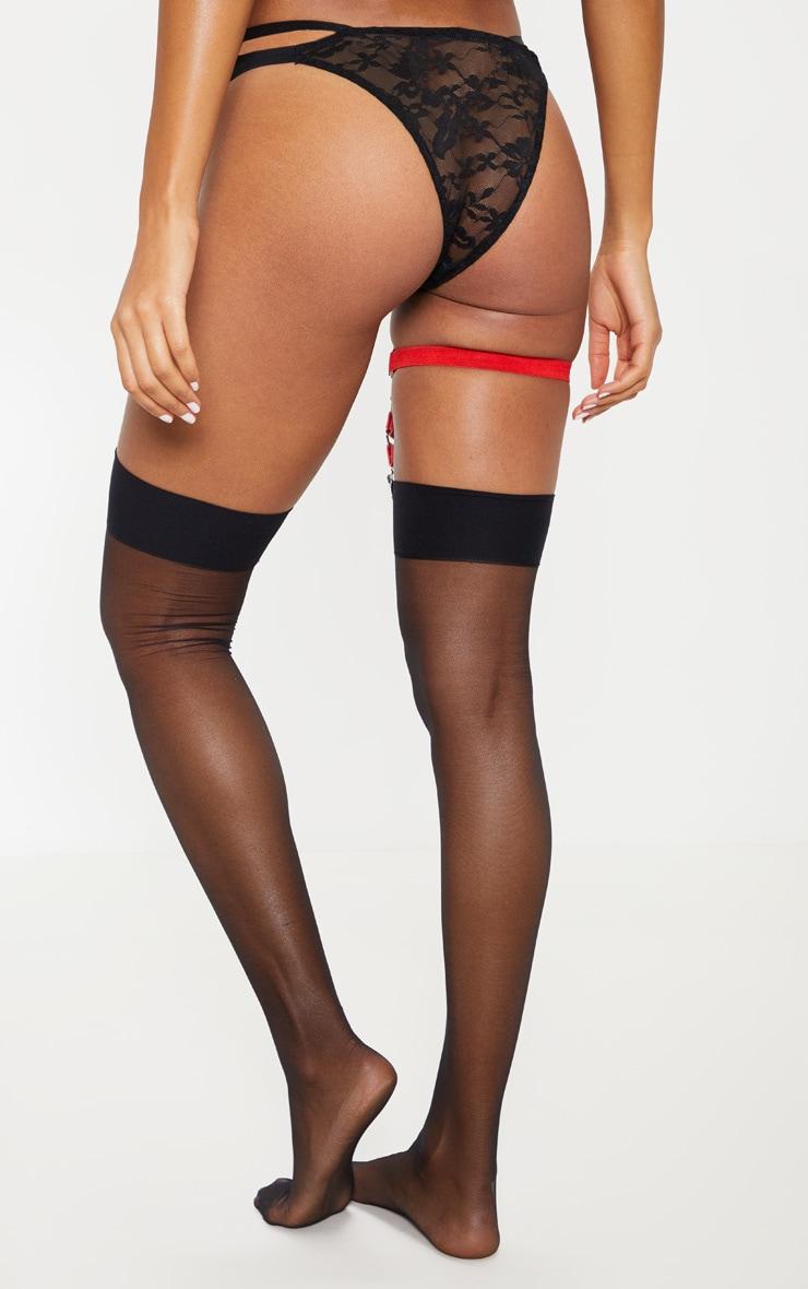 Harnais de jambe en similicuir rouge  4