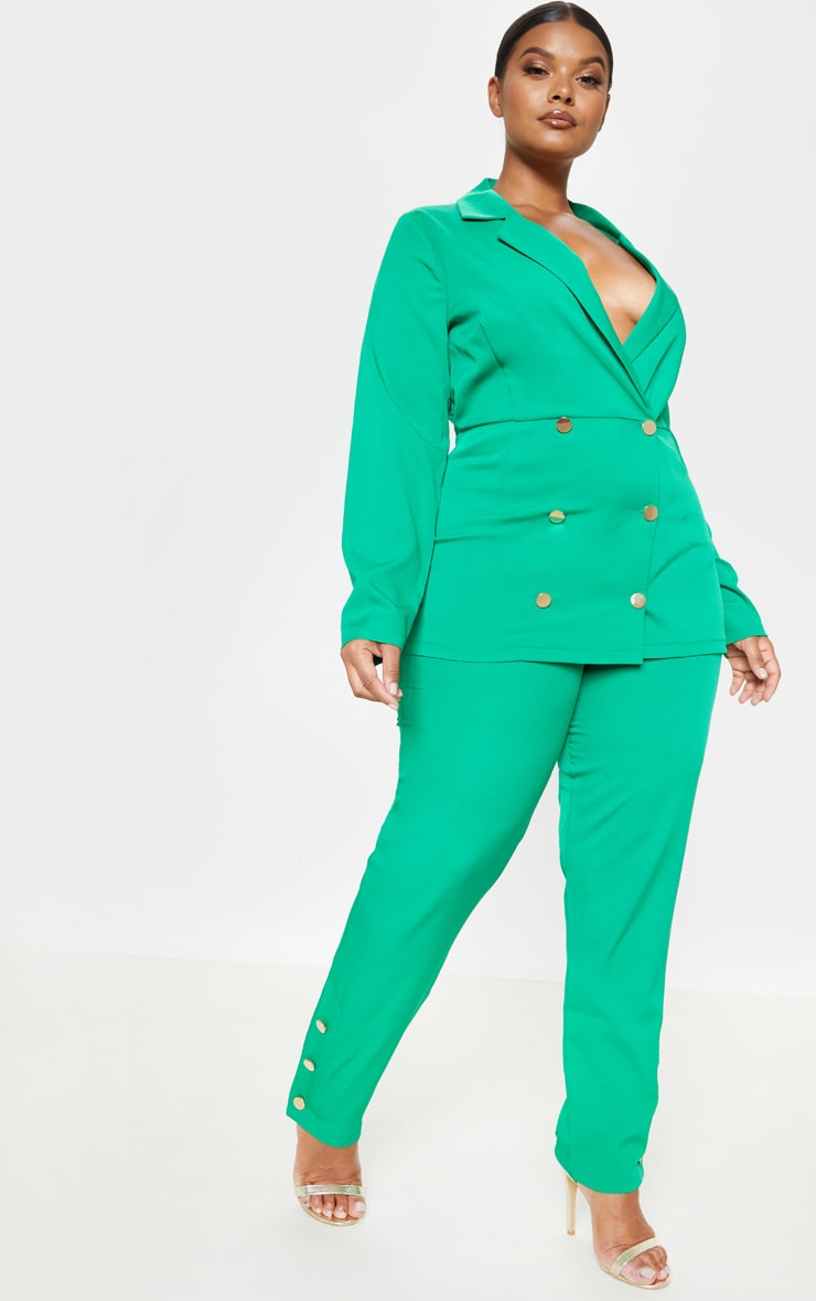 f0f91396facd Plus Bright Green Gold Button Detail Straight Leg Trouser image 1