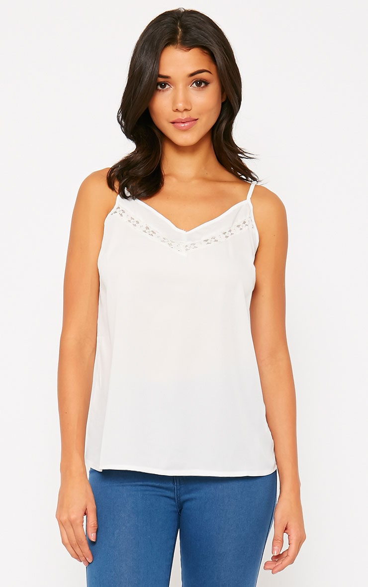 Mindy White Lace Insert V-Neck Cami 1