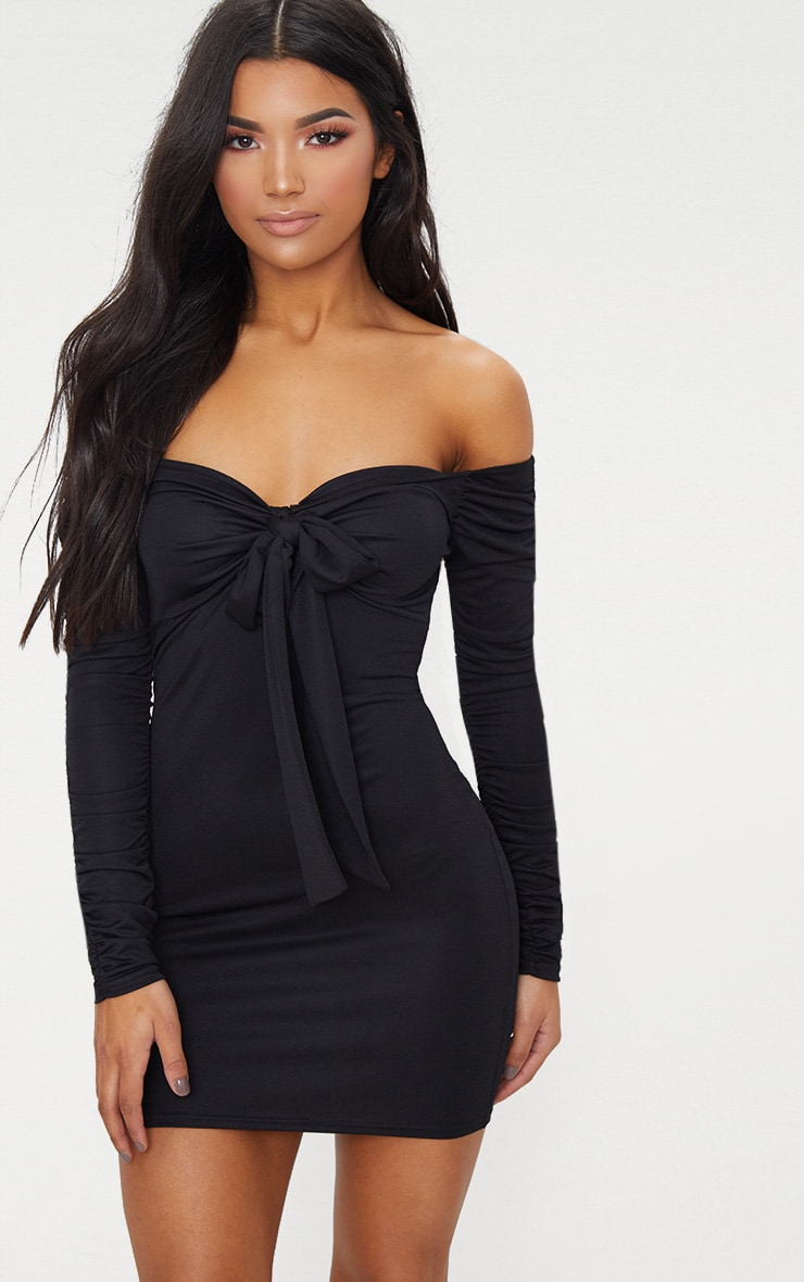 Black Tie Front Ruched Arm Bardot Bodycon Dress
