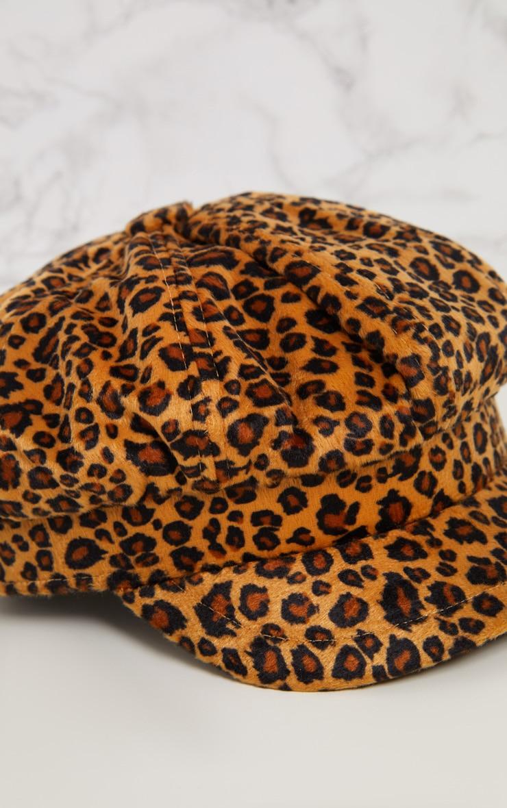 Casquette gavroche à imprimé léopard 6