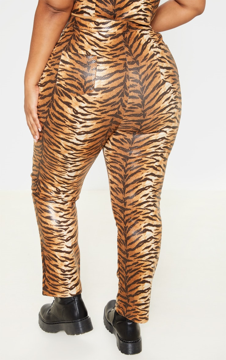 Plus Tiger Print Snake High Waisted Trousers 4