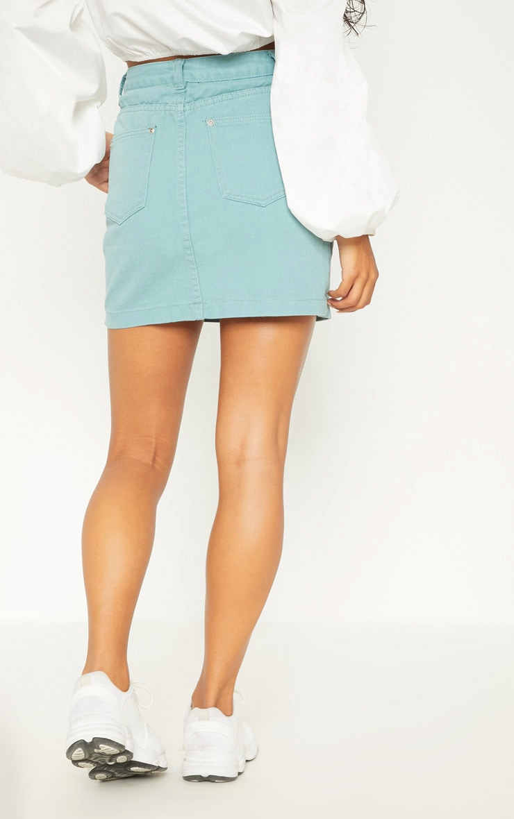 Green Denim Skirt  4