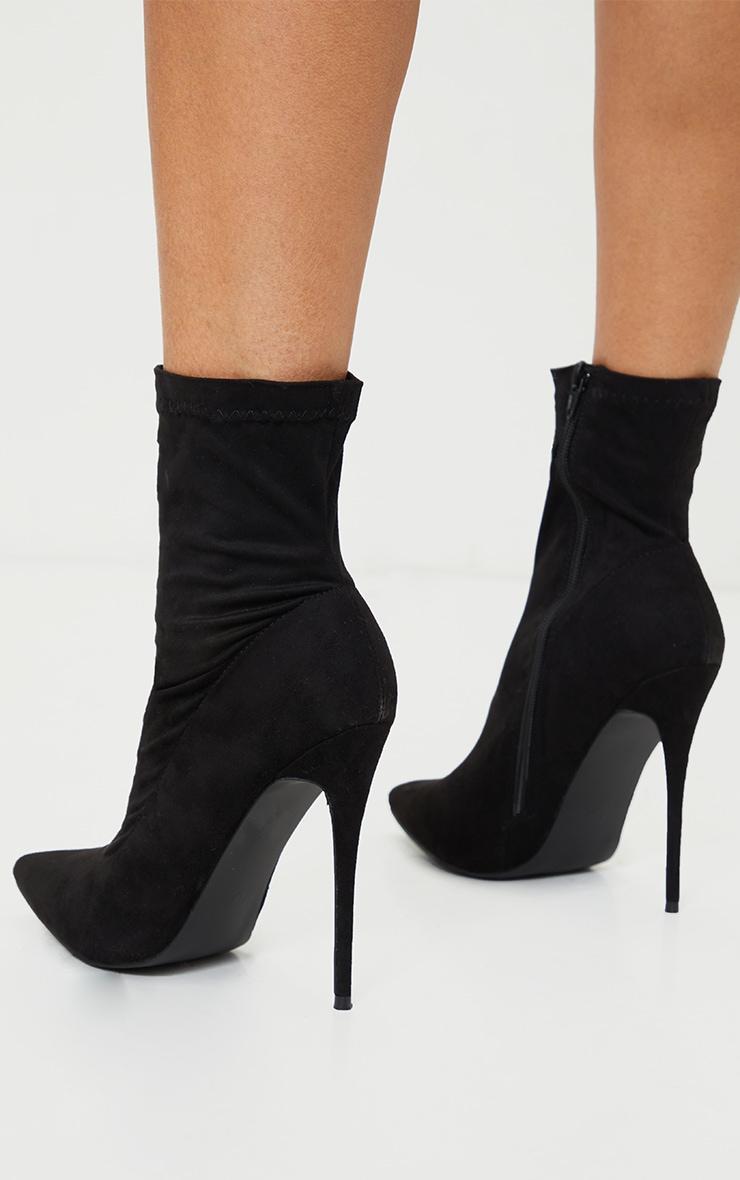 Black High Point Stiletto Sock Boot 4