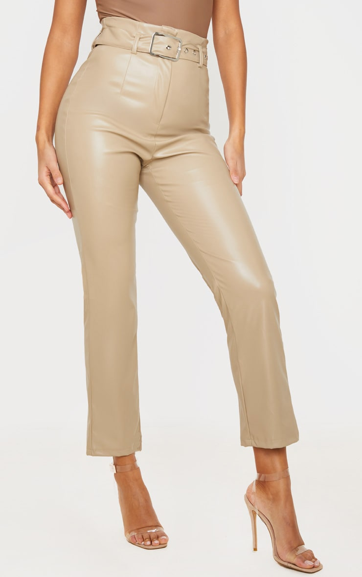 Stone Belted Straight Leg Faux Leather Trousers 2