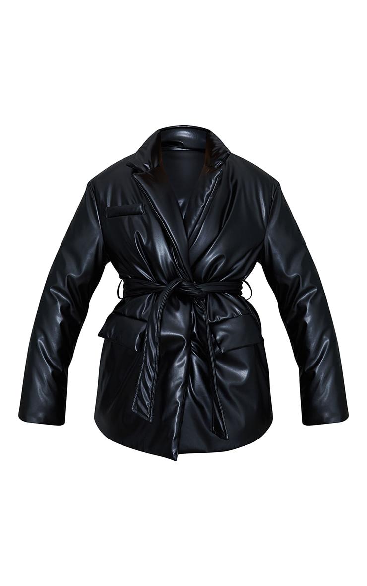 Black PU Belted Padded Blazer Style Puffer Coat 5