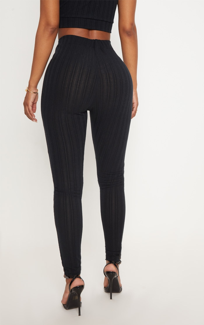 Shape Black High Waist Ribbed Leggings 4