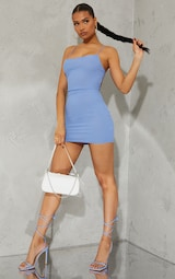 Blue Ribbed Lace Up Back Bodycon Dress 3