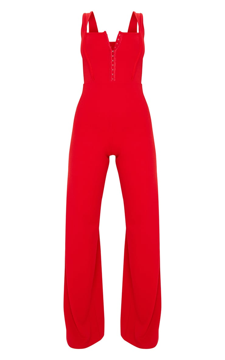 Red Square Neck Corset Jumpsuit 3