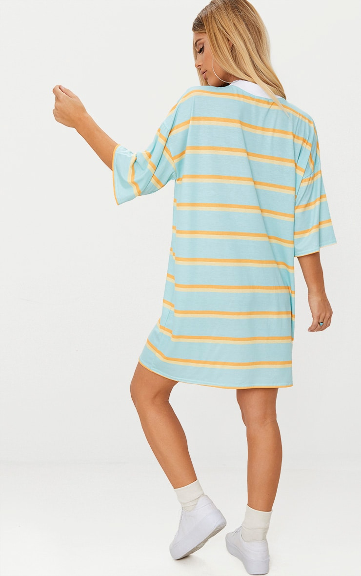 Pastel Green Stripe T Shirt Dress 2