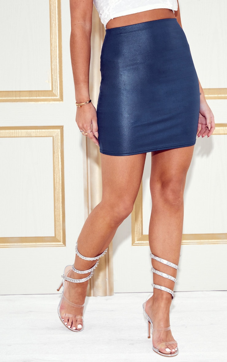 Navy Wet Look Mini Skirt 2