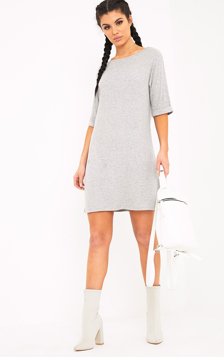 Kannah Grey Ribbed Roll Sleeve Oversized T Shirt Dress 3