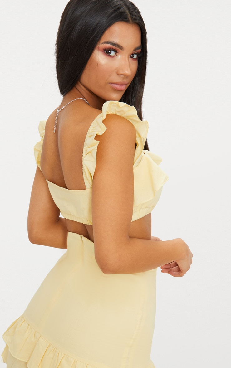 Lemon Cotton Frill Detail Strappy Crop Top 2