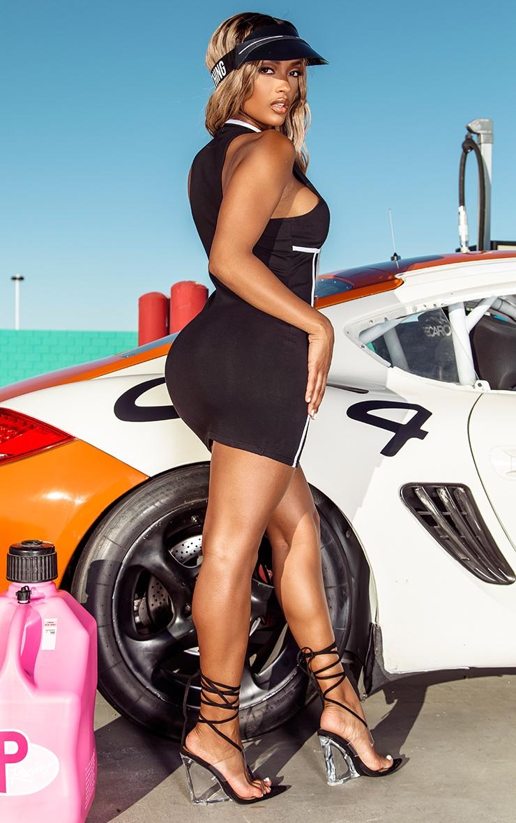 PRETTYLITTLETHING Shape Black Zip Up Binding Detail Bodycon Dress 2