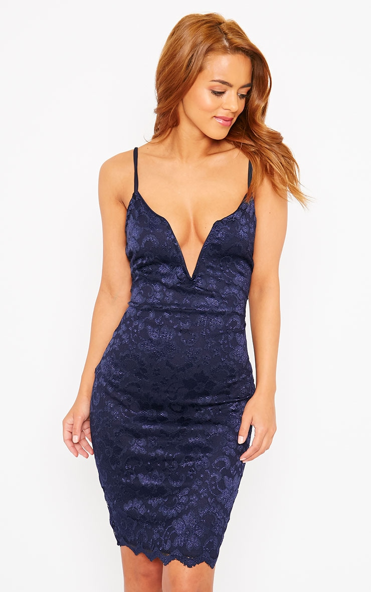 Casey Navy Scallop Lace Dress 4