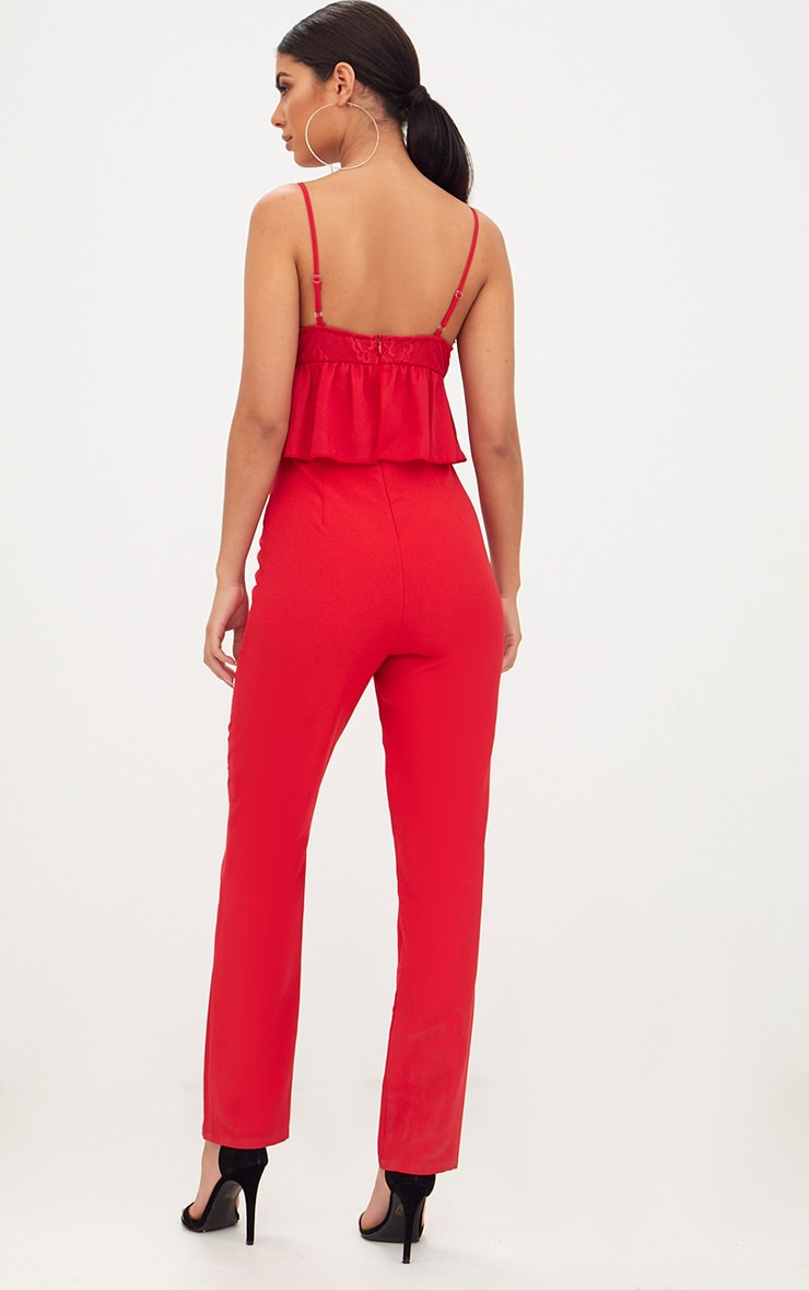 Red Lace Plunge Peplum Jumpsuit  2